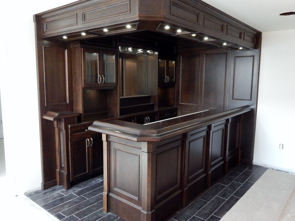 Side View Of Custom Basement Bar
