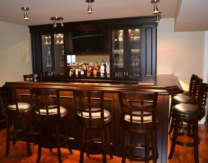 Custom Home Bar With Upper Back Unit