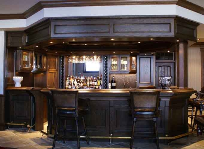 Custom Oak Bar With Canopy Custom Home Bars