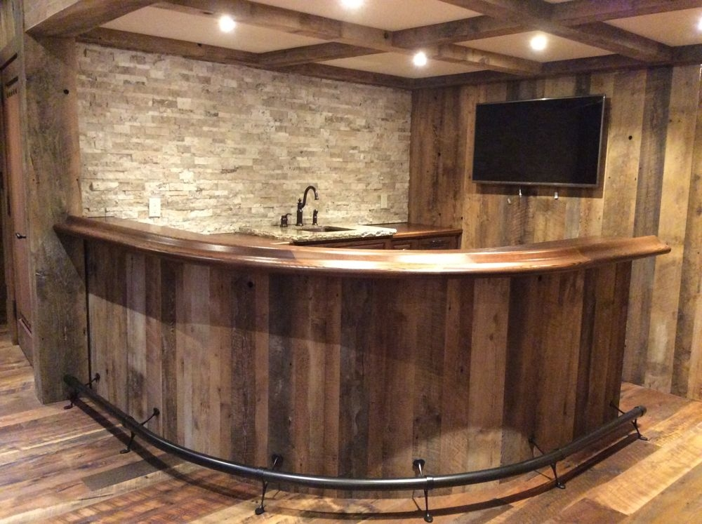 Oak curved home bar custom home bars for What to use for a bar top