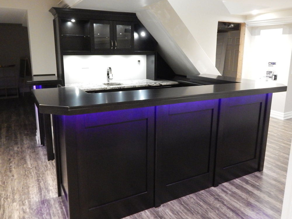 Shaker Style Basement Bar With RGB Lighting